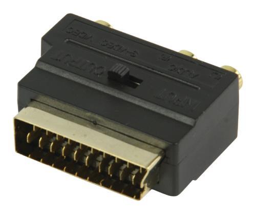 VGVP31902B Schakelbare SCART AV adapter SCART mannelijk - 3x RCA vrouwelijk S-Video vrouwelijk zwart