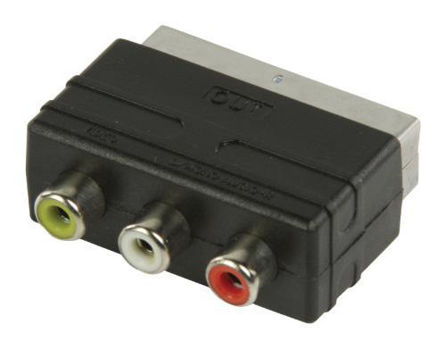 VLVP31901B SCART - RCA output adapter SCART mannelijk - 3x RCA vrouwelijk zwart