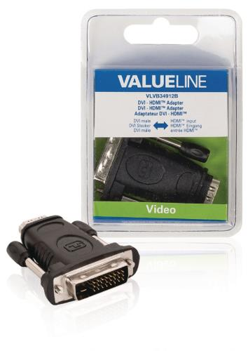 VLVB34912B DVI - HDMI adapter DVI mannelijk - HDMI input zwart