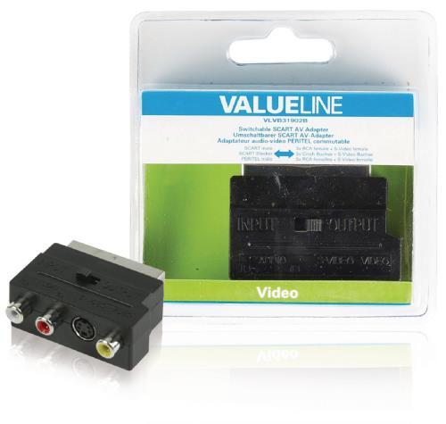 VLVB31902B Schakelbare SCART AV adapter SCART mannelijk - 3x RCA vrouwelijk S-Video vrouwelijk zwart
