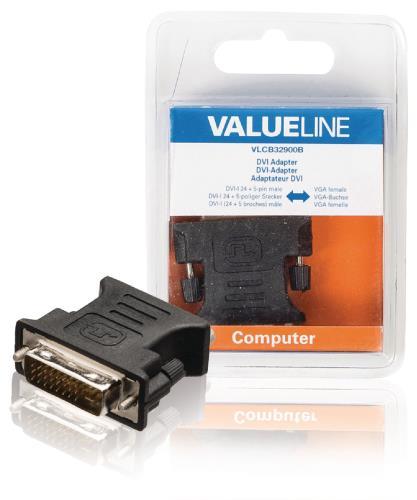 VLCB32900B DVI-adapter DVI-I 24 5-pins mannelijk - VGA vrouwelijk zwart