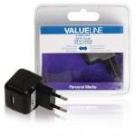 Valueline VLMB11955B USB AC-lader USB A female - AC-huisaansluiting zwart 2.1A