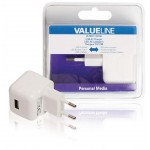 Valueline VLMB11955W USB-lader USB A female - AC-huisaansluiting wit 2.1A