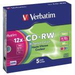 Verbatim CDRVER00029B CD rewritable 5 pack colored 700 MB