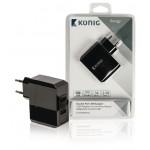 König CS34UW001BL Universele USB lader met dubbele poort 1 A en 2,4 A