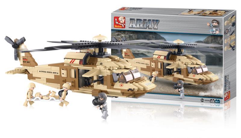 Sluban M38-B0509 Building Blocks Army Series Utility Helicopter