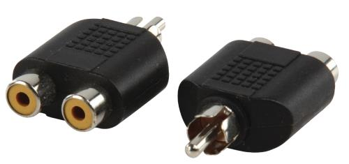 AC-016 Adapter plug RCA stekker - 2x RCA kontra stekker
