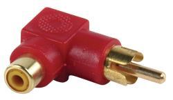 AC-055 Adapter plug RCA stekker - RCA kontra stekker met vergulde kontakten in haakse uitvoering