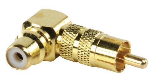 AC-058 Adapter plug RCA stekker - RCA kontra stekker met vergulde kontakten in haakse uitvoering