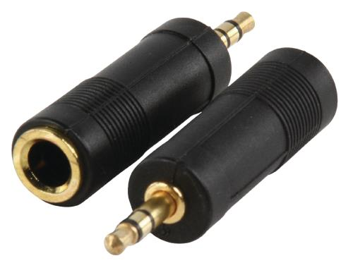 AC-005GOLD Adapter plug 3.5mm stereo stekker - 6.35mm stereo kontra stekker met vergulde kontakten