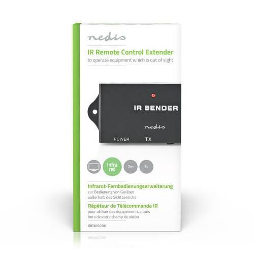Nedis IREX050BK IR-Extender voor Afstandsbedieningen | 30 - 60 KHz | Voor 3 Apparaten | 7,0 m Bereik | Zwart