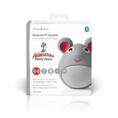 Nedis SPBT4100GY Animaticks Bluetooth Speaker | 3 Uur Speeltijd | Handsfree Bellen | Melody Mouse
