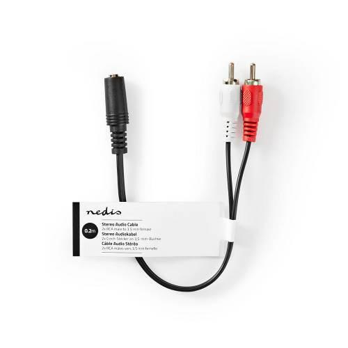 Nedis CAGT22255BK02 Stereo-Audiokabel | 3,5 mm Female | 2x RCA Male | 0,2 m | Zwart