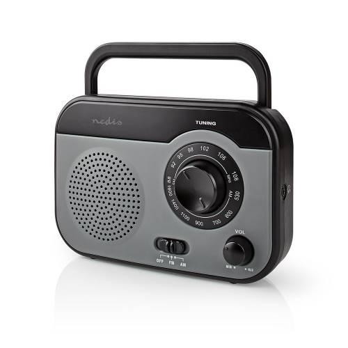 Nedis RDFM1340GY FM/AM-Radio | 1,8 W | Draaggreep | Grijs/Zwart