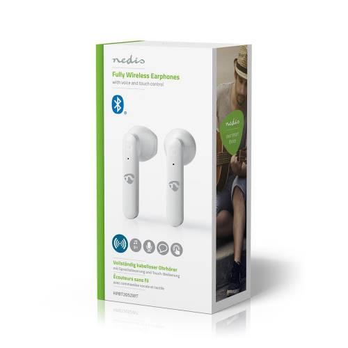 Nedis HPBT2052WT Volledig Draadloze Bluetooth®-Oordopjes | 3 uur Afspeeltijd | Spraakbediening | Charging Case | Wit