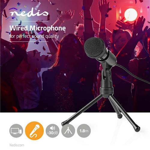 Nedis MICTJ100BK Bedrade Microfoon | Aan/Uitknop | Met Standaard | 3,5 mm