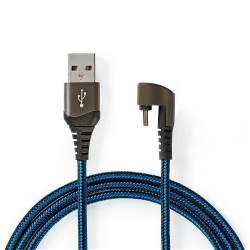 Nedis GCTB60600BK20 USB 2.0-kabel   A Male naar Type-C™ Male   180°-aansluiting voor gaming   2,0 m   rond   gevlocht...