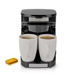 Nedis KACM140EBK Koffiezetapparaat | Maximale capaciteit: 0.25 l | 2 | Warmhoudfunctie | Klokfunctie | Zwart