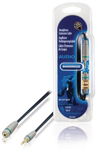 Bandridge BAL3605 Verlengkabel voor hoofdtelefoon 5.0 m