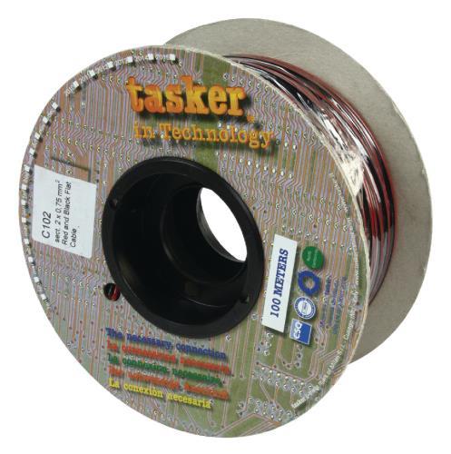 Tasker C102 2X0.75 Luidsprekerkabel 2 x 0,75 mm² op rol 100 m zwart / rood