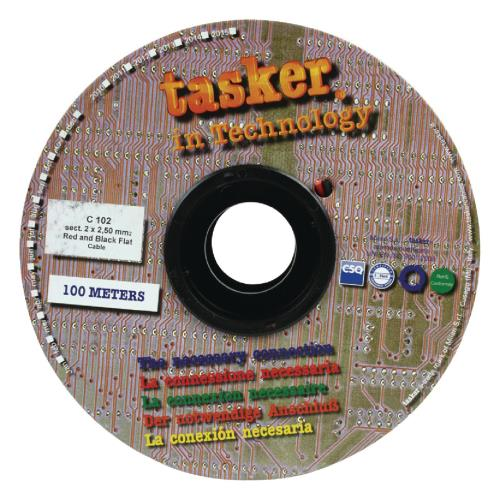Tasker C102 2X2.50 Luidsprekerkabel 2 x 2,50 mm² op rol 100 m zwart / rood