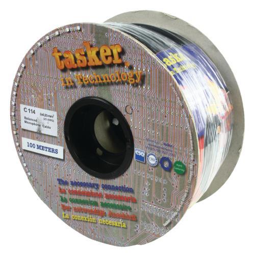 Tasker C114 BLACK Flexibele microfoonkabel 2x 0,25 mm² op rol van 100 m
