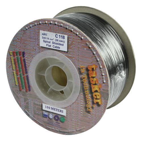 Tasker C118 BLACK Audio kabel 2 x 0,14 mm² op rol van 100 m