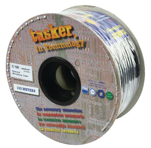 Tasker C128 BLACK Flexibele microfoonkabel 2 x 0,35 mm² op rol van 100 m
