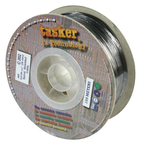 Tasker C202 Flexibele microfoonkabel 2 x 0,08 mm² op rol 100 m zwart