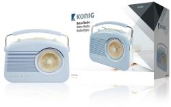 König HAV-TR710BU Retrodesign AM/FM-radio - blauw
