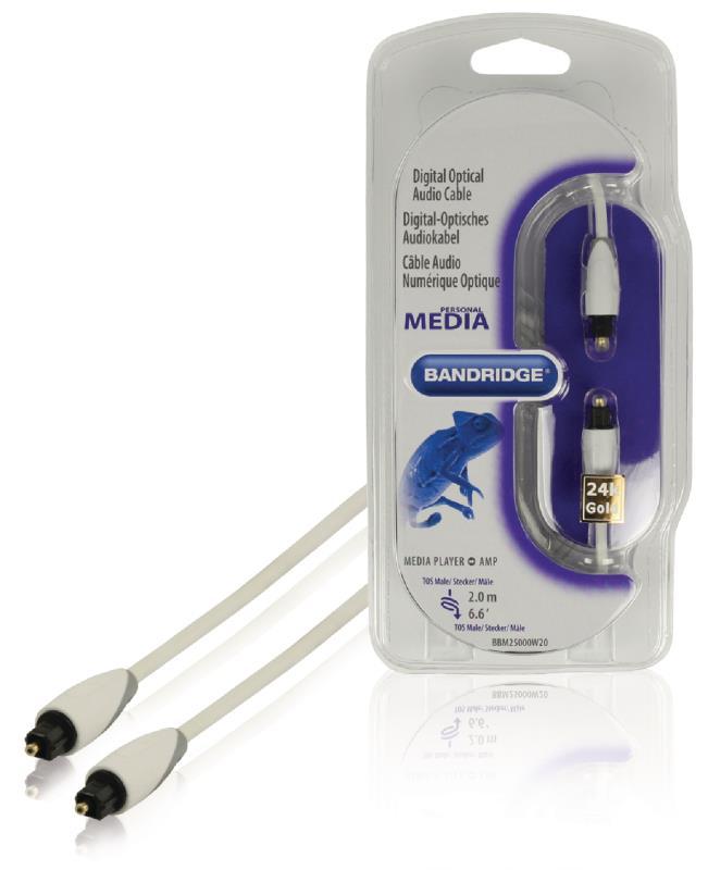 Bandridge BBM25000W20 Toslink digitale optische audiokabel 2,00 m