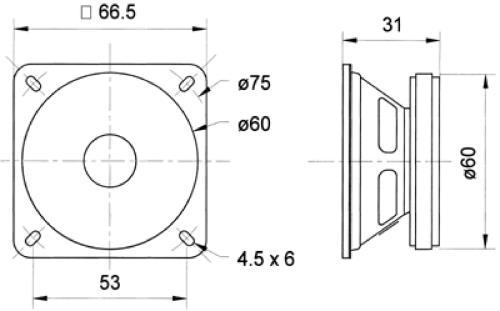 "Visaton 2012 Full-range luidspreker 6.5 cm (2.5"") 8 Ohm"