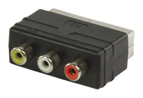 VLVP31900B SCART - RCA input adapter SCART mannelijk - 3x RCA vrouwelijk zwart