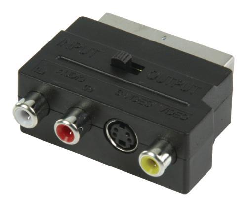 VLVP31902B Schakelbare SCART AV-adapter SCART mannelijk - 3x RCA vrouwelijk S-Video vrouwelijk zwart