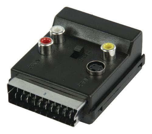 VLVP31903B Schakelbare SCART AV-adapter SCART mannelijk - SCART vrouwelijk 3x RCA vrouwelijk S-Video vrouwelijk z...