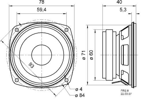 "Visaton 2003 HiFi full-range luidspreker 8 cm (3.3"") 4 Ohm"
