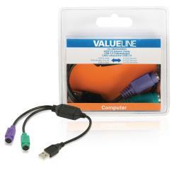 Valueline VLCB60830B03 USB 2.0 adapterkabel USB A mannelijk - 2x PS/2 vrouwelijk 0,30 m zwart