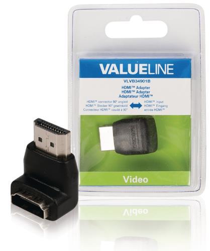 VLVB34901B HDMI adapter HDMI connector 90 gehoekt - HDMI input zwart