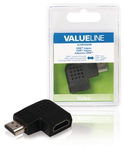 VLVB34903B HDMI-adapter HDMI-connector links gehoekt - HDMI input zwart