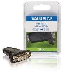 Valueline VLVB34911B HDMI - DVI-adapter HDMI input - DVI vrouwelijk zwart