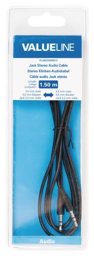 Valueline VLAB22000B15 Jack stereo audiokabel 3,5 mm mannelijk - 3,5 mm mannelijk 1,50 m zwart