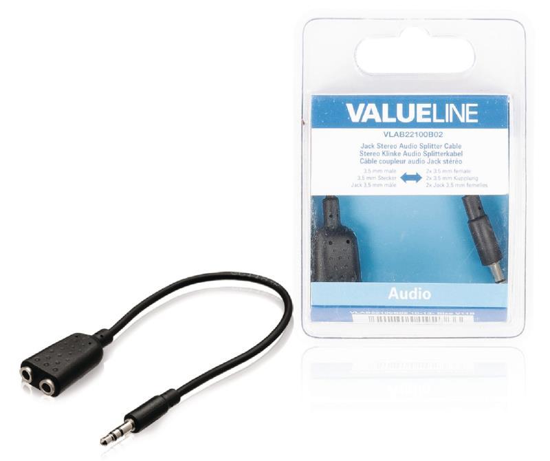 Valueline VLAB22100B02 Jack stereo audio verdeelkabel 3,5 mm mannelijk - 2x 3,5 mm vrouwelijk 0,20 m zwart