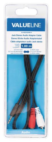 Valueline VLAB22200B10 Jack stereo audio adapterkabel 3,5 mm mannelijk - 2x RCA mannelijk 1,00 m zwart