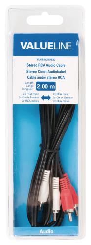 Valueline VLAB24200B20 Stereo RCA audiokabel 2x RCA mannelijk - 2x RCA mannelijk 2,00 m zwart
