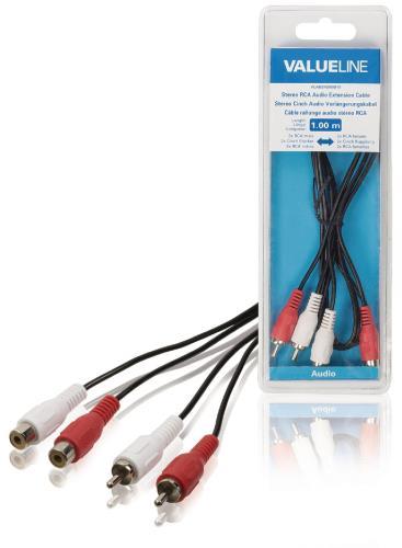 Valueline VLAB24205B10 Stereo RCA audio verlengkabel 2x RCA mannelijk - 2x RCA vrouwelijk 1,00 m zwart