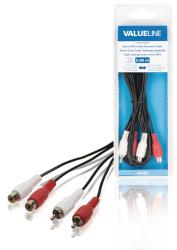Valueline VLAB24205B20 Stereo RCA audio verlengkabel 2x RCA mannelijk - 2x RCA vrouwelijk 2,00 m zwart