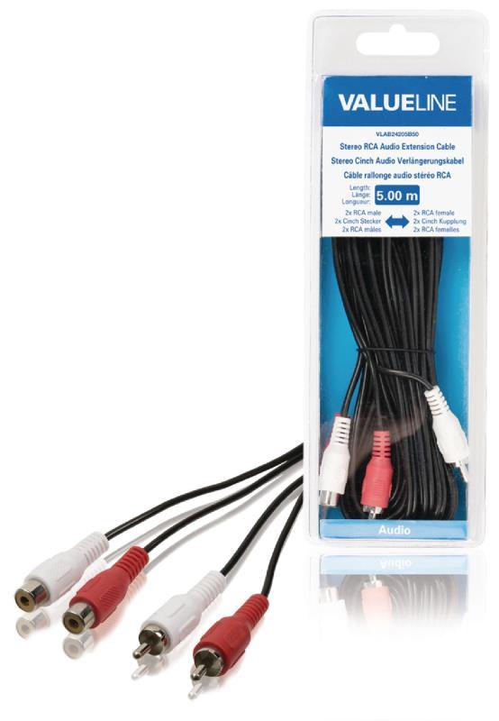 Valueline VLAB24205B50 Stereo RCA audio verlengkabel 2x RCA mannelijk - 2x RCA vrouwelijk 5,00 m zwart