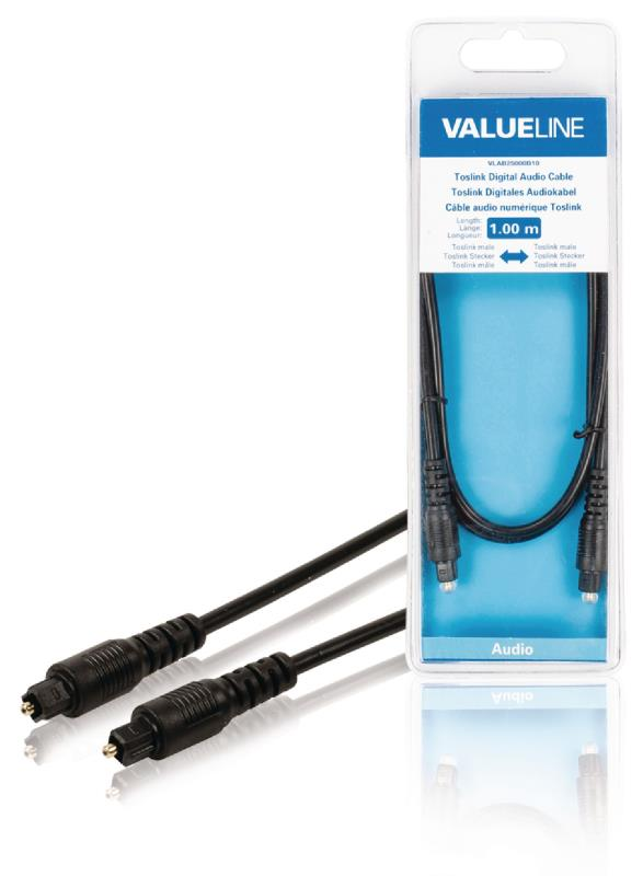 Valueline VLAB25000B10 Toslink Digitale audiokabel Toslink mannelijk - Toslink mannelijk 1,00 m zwart