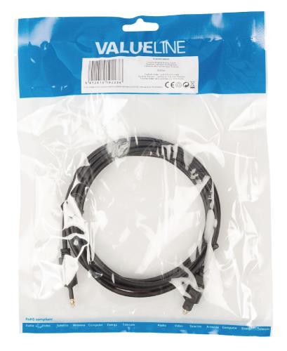 Valueline VLAP25100B30 Toslink Digitale audiokabel Toslink mannelijk - opt 3,5 mm mannelijk 3,00 m zwart