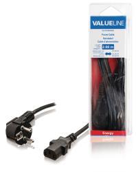 Valueline VLEB10000B20 Stroomkabel Schuko gehoekt mannelijk - IEC-320-C13 2,00 m zwart